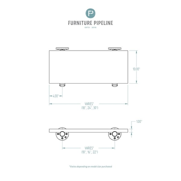 "Somerville Farmhouse Industrial 18"", 24"" & 30"" Wall Shelf"