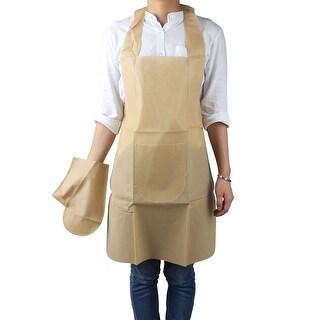 Dots Print Kitchen Cooking Neck Disposable Apron Self Tie Bib Dress Light Orange