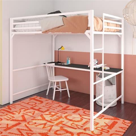 Porch & Den Wilkesboro Metal Full Loft Bed with Desk