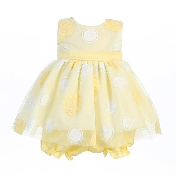 Baby Girls Yellow Glittered Polka Dot Easter Dress Bloomer Set 0-24M