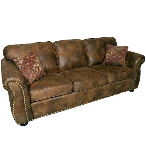 Porter Designs Elk River Transitional Leather-Look Sofa, Brown