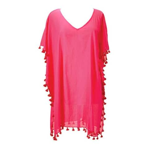 San Diego Hat Company Women's V-Neck Cotton Tunic with Tassels BST1710 Raspberry - US Women's One Size (Wms Size One Size)