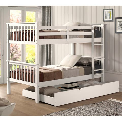 Taylor & Olive Como Wood Mission Twin Bunk Bed with Trundle - Off White