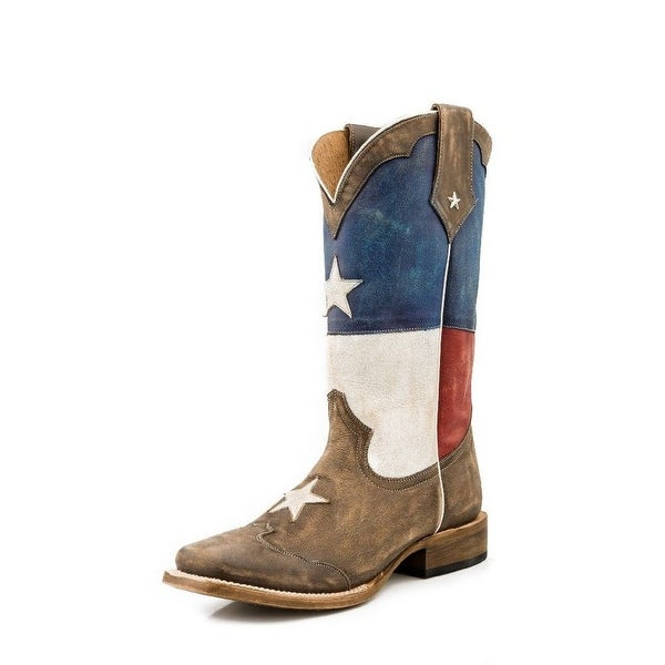 Roper Western Boots Mens Texas Star Square Brown