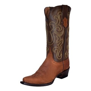 Ferrini Western Boots Women Leather Snip Toe Pull Straps Cafe 82261-03
