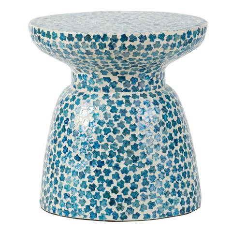 A&B Home Pearl Blue and White 16-inch Mosiac Tile Chalice Stool