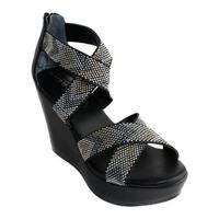 Charles by Charles David Women's Fani Platform Wedge Sandal Black Chevron Elastic/Smooth