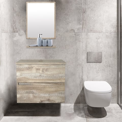 Natural Color Bathroom Vanity with Mirror and 2 Drawers