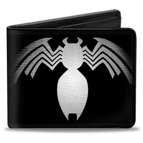 Marvel Universe Venom Chest Spider Black White Gray Fade Bi Fold Wallet - One Size Fits most