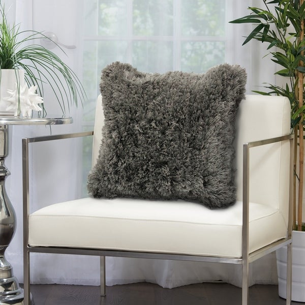 Silver Gray Shag Throw Pillow. Opens flyout.