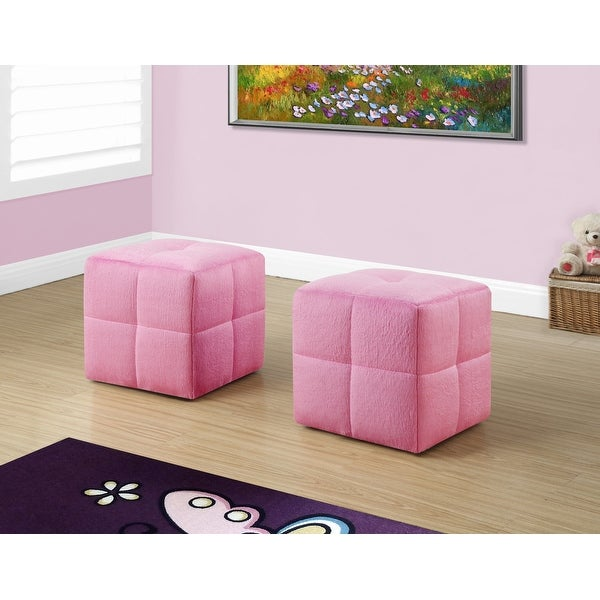 "Two 24"" Fuzzy Pink Leather, Foam, and Solid Wood Ottomans"
