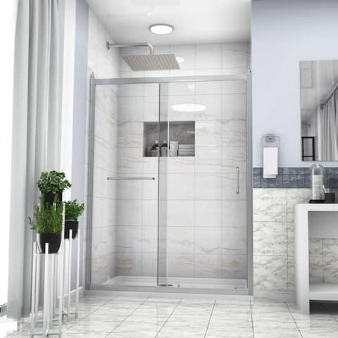 "Kichae Shower Door 48"" W x 72""H Semi-Frameless Single Sliding Shower Enclosure"