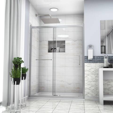 "Kichae Shower Door 60"" W x 72""H Semi-Frameless Single Sliding Shower Enclosure"