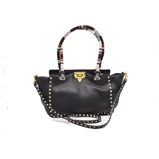 Valentino 'rockstud' Beaded Handle Leather BLACK Tote Bag