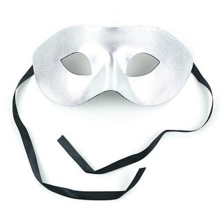 """7"""" Silver Colored Half Mask with Ribbon Ties"""