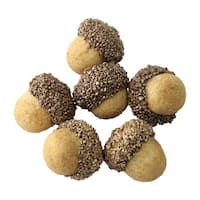 "Set of 6 Gilded White Christmas Gold Topped Acorn Decorations 1.5"" - brown"