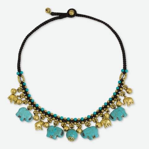 NOVICA Handmade Brass 'Blue Elephant Charm' Calcite Necklace (Thailand)