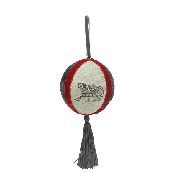 """Country Cabin Plaid and Burlap Left Facing Sleigh Christmas Ball Ornament with Tassel 4.5""""(115mm)"""