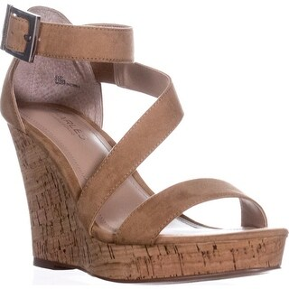 Charles Charles David Leanna Strappy Wedge Sandals, Nude
