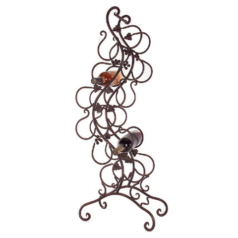 "40"" Contemporary Scroll Iron Grape and Vine Wine Rack"