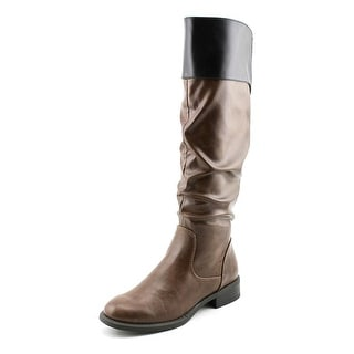Nine West Leonora Wide Calf Women  Round Toe Synthetic Brown Knee High Boot