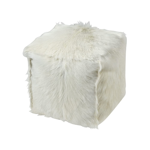 Dimond Home 5227 008 Pillow 16 Wide Goat Fur Covered Polyester Filled Pouf Ottoman White N A Free Shipping Today