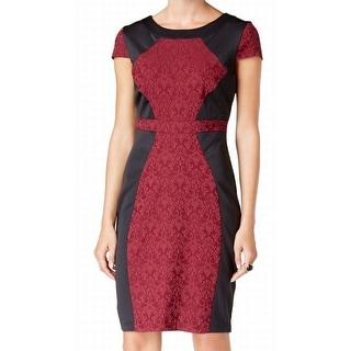 Sangria NEW Red Black Women's Size 16 Colorblock Textured Sheath Dress