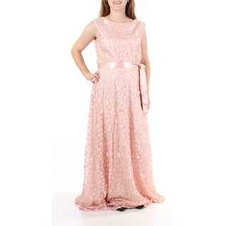 Womens Pink Floral Sleeveless FullLength ALine Prom Dress Size: 10