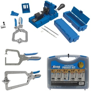 Kreg K5MS-KREG Jig K5 Wood Clamp with Pocket-Hole Screw Kit and Clamp Bundle - Blue