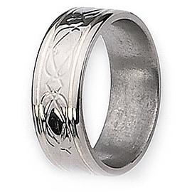 Chisel Silver Inlaid Flat Polished Titanium Ring (8.0 mm)
