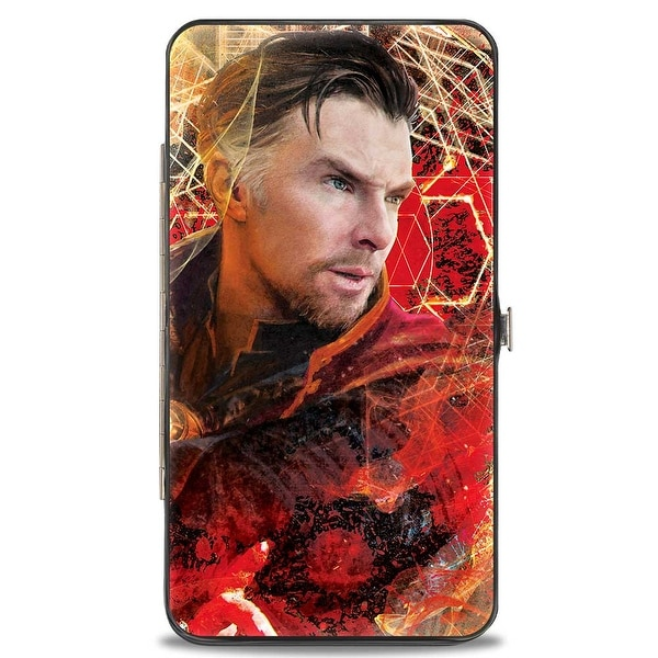 Dr. Strange Profile Portal Aura + Text Black Reds Gold Hinged Wallet One Size - One Size Fits most