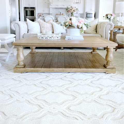 "My Texas House by Orian Indoor/Outdoor Cotton Blossom Natural Area Rug - 5'2"" x 7'6"""