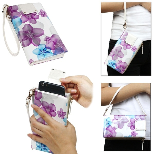 "JAVOedge Universal Pullout Phone Wallet for Smartphones (Fits up to 5.5"" Size) - spring blossom / mint"