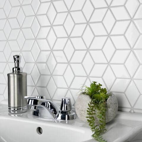 "SomerTile Metro Rhombus Glossy White 10.5"" x 12.13"" Porcelain Mosaic"