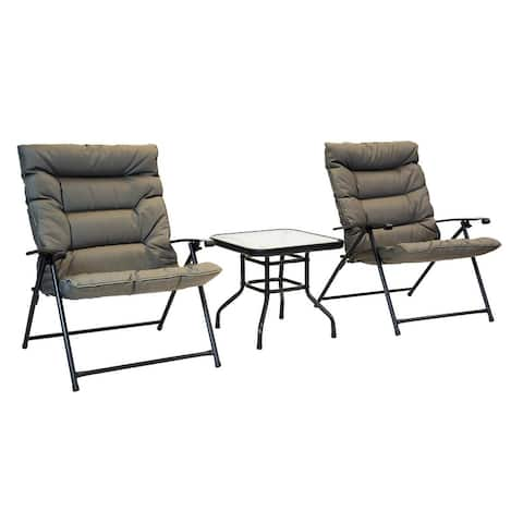 Patio Premier 3pc Folding Set with Cushions, Black Frame, Olive Cushions