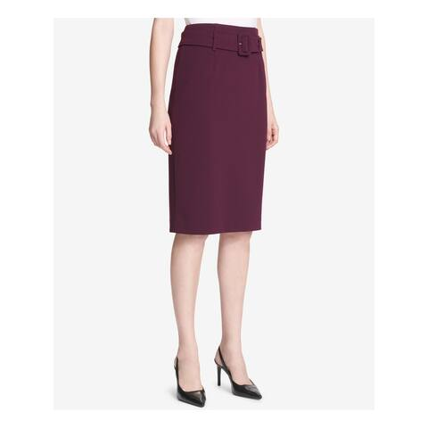 CALVIN KLEIN Purple Knee Length Pencil Skirt Size 2