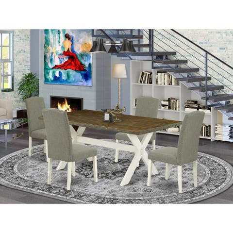 East West Furniture Dining Set - Modern Dining Table and Kitchen Chairs - Distressed Jacobean Finish (Pieces Option)
