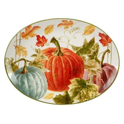 "Certified International Autumn Harvest 16-inch x 12-inch Oval Platter - 16"" x 12"" x 1.25"""