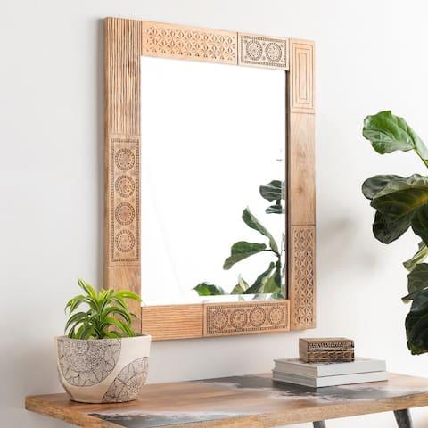 "Deena Mango Wood Block 39x32-inch Mirror - 39""H x 32""W"