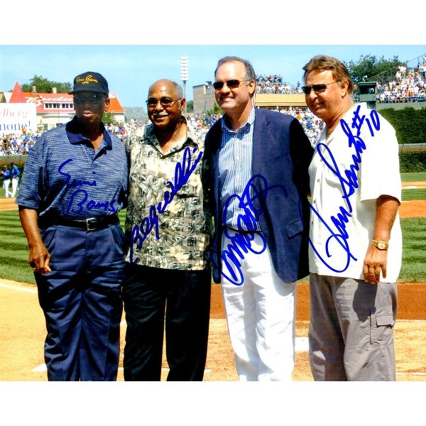 Ernie Banks Ron Santo Ryne Sandberg  Billy Williams Chicago Cubs 8x10 Photo