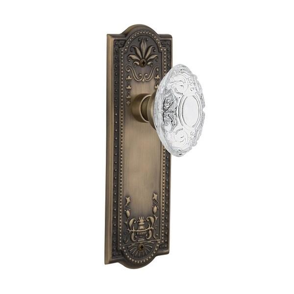 "Nostalgic Warehouse MEACVI_PRV_234_NK Vintage Crystal Victorian Privacy Door Knob Set with Meadows Rose and 2-3/4"" Backset"
