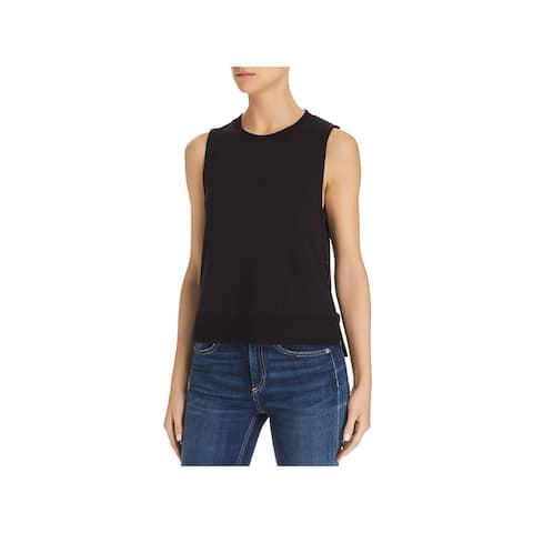 Rag & Bone Womens Bowery Muscle Tank Sleeveless Ribbed Trim - Black