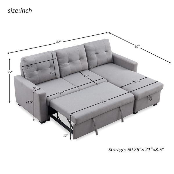 Merax 82 Inch Reversible Sleeper Sectional Sofa, Corner Sofa Bed With Storage - Overstock - 31813410