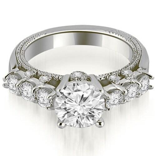 1.20 cttw. 14K White Gold Milgrain Round Cut Diamond Engagement Ring