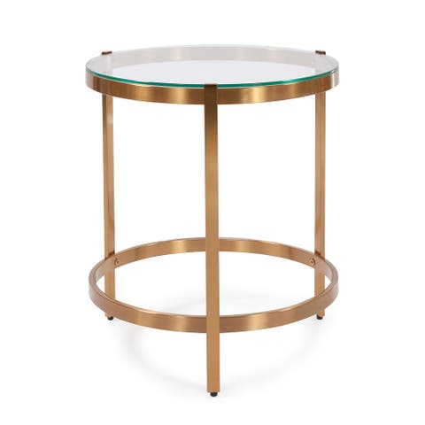 Brushed Brass Stainless Steel Side Table - 16.50 x 16.50 x 19