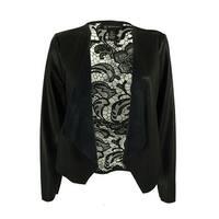 INC International Concepts Women's Faux-Leather Lace Jacket - Deep Black