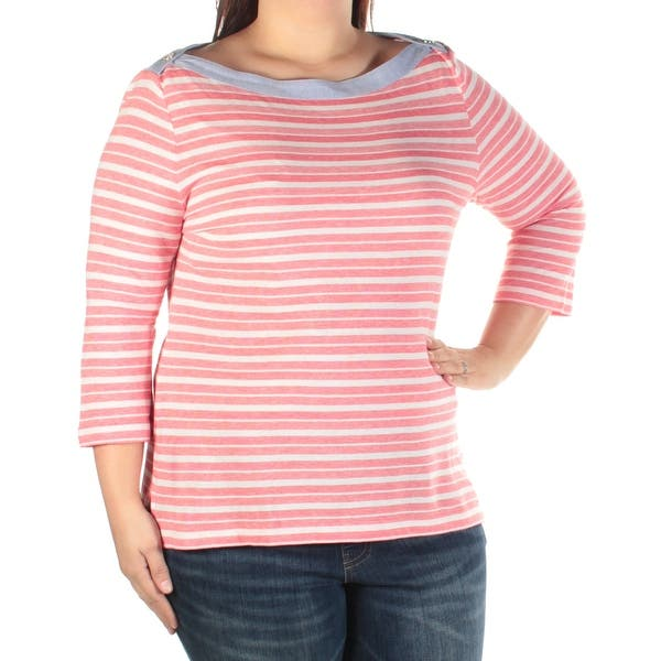 a6edd8be3024aa Shop Womens Red White Striped 3/4 Sleeve Boat Neck Top Size XL - Free  Shipping On Orders Over $45 - Overstock - 22646199