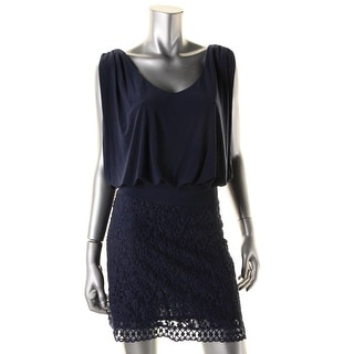 Laundry by Shelli Segal Womens Petites Lace Draped Cocktail Dress