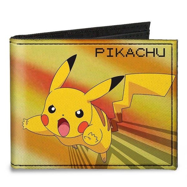 Pikachu Attack Pose + Pok�mon Yellows Canvas Bi Fold Wallet One Size - One Size Fits most
