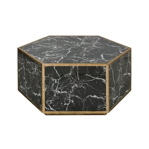 Davenport Cloisters - 34.5 Inch Coffee Table Black Marble/Gold Leaf/Gold Leaf Finish